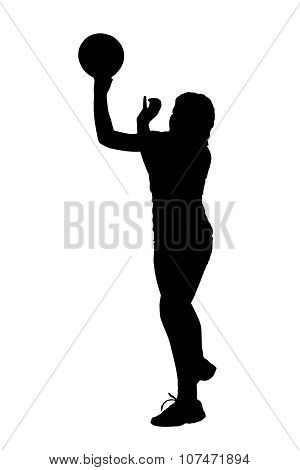 Silhouette Of Korfball Ladies League Girl Player Throwing Ball