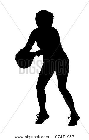 Silhouette Of Korfball Ladies League Girl Player Aiming At Goal