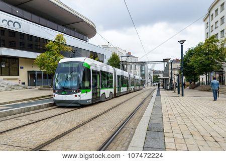 NANTES, FRANCE - CIRCA SEPTEMBER 2015: A tramway stops at Bretagne station.