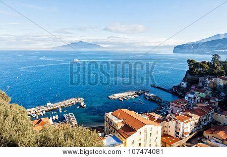 Sorrento City, Gulf Of Naples And Mount Vesuvius, Italy