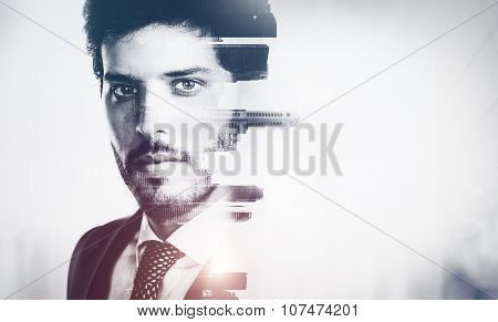 Bw portrait of young businessman and contemporary city on the background. Double exposure. Visual ef