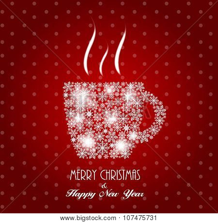 Christmas Coffee Cup Background Vector Illustration