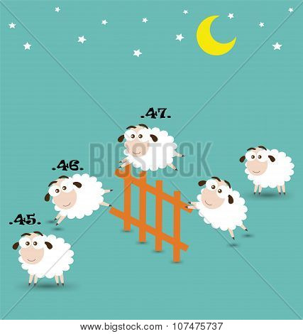 Counting Sheep Jumping Over Fence