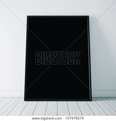 Close-up of black poster on the white floor. 3d rendering
