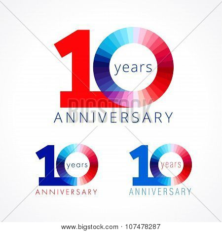 10 anniversary red and blue logo.