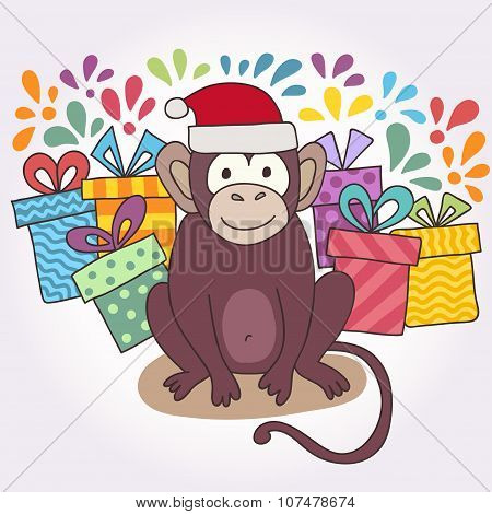 Vector funny monkey, illustration happy monkey for children. Postcard Happy New Year 2016. Year of t