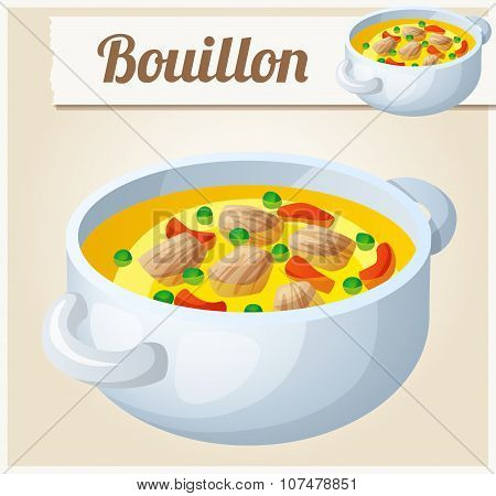 Bouillon with meat and vegetables. Detailed Vector Icon