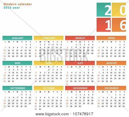 Flat calendar for 2016 year