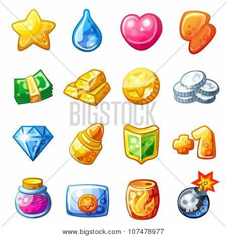 Cartoon resource icons for game user interface isolated on white background