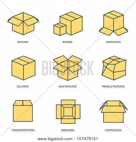 Vector illustration. Flat carton box. Transport ,packaging, shipment. Post service and delivery.