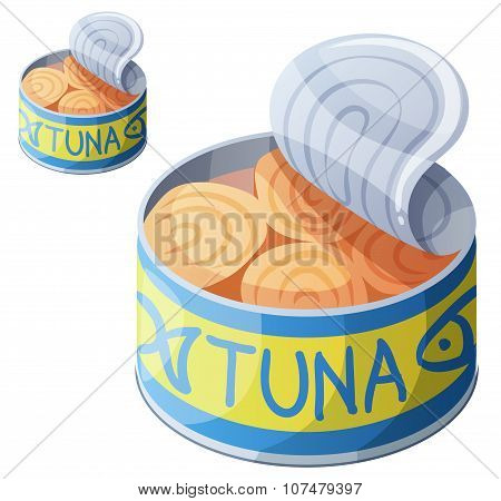 Canned tuna fish isolated on white background. Detailed Vector Icon