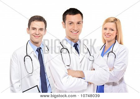 A View Of A Happy Medical Team Of Doctors, Men And Woman