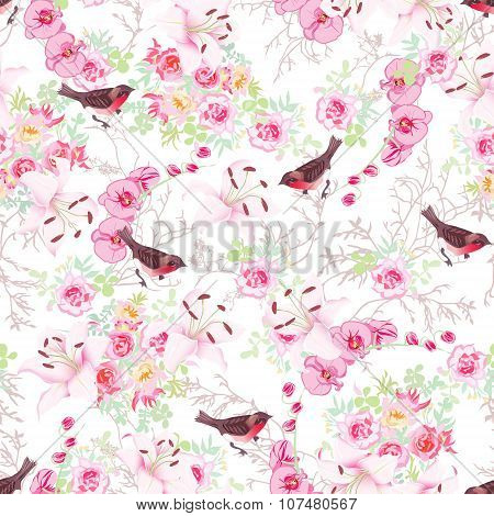 Baroque Floral Bouquets With Bullfinches Seamless Vector Print