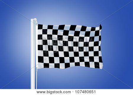 Finish flag flying in a stiff breeze against clear blue sky.