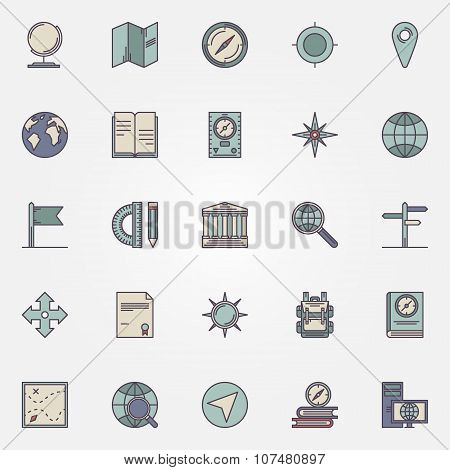 Geography flat icon set
