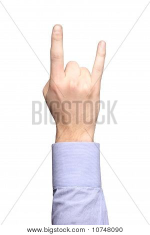 Hand Gesturing Rock And Roll Sign