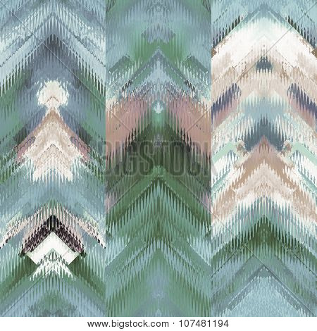art colorful ornamental ethnic styled seamless pattern with vertical rows; blurred watercolor background in green blue and white colors