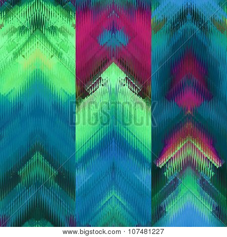 art colorful ornamental ethnic styled seamless pattern with vertical rows; blurred watercolor background in green and blue colors
