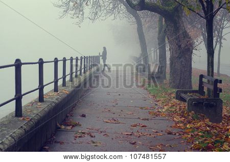 Beautiful Girl Standing Beside Railing Of Pedestrian Walkway On Misty Autumn Day