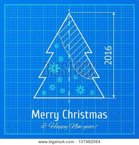 Christmas tree on graph paper