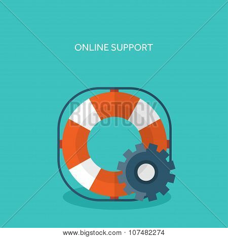 Flat background with lifebuoy. Technical support concept. Online help.
