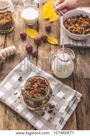 Home-baked Granola With Nuts, Honey And Pieces Of Fruit