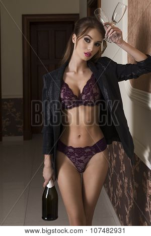 Sexy Female With Bottle Of Champagne