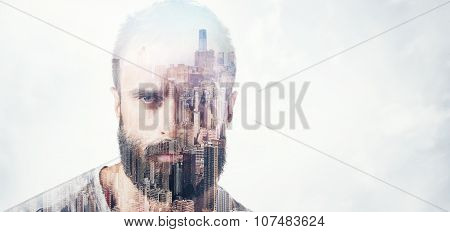Double exposure concept with bearded man. Wide
