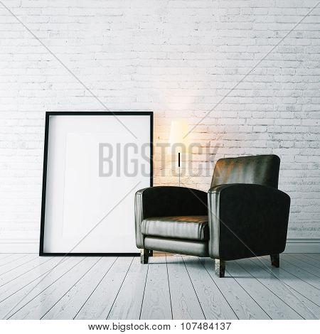 Photo of blank frame and vintage armchair on the white floor . 3d rendering