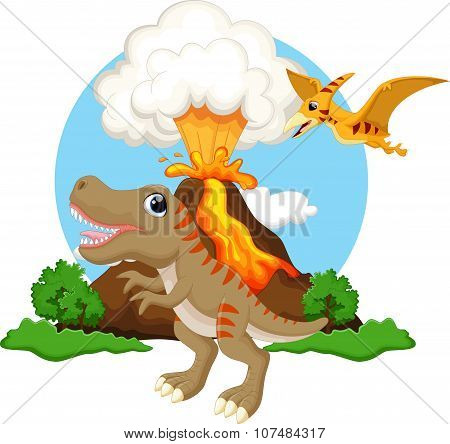 Cute tyrannosaurus and pterodactyl cartoon with volcano background