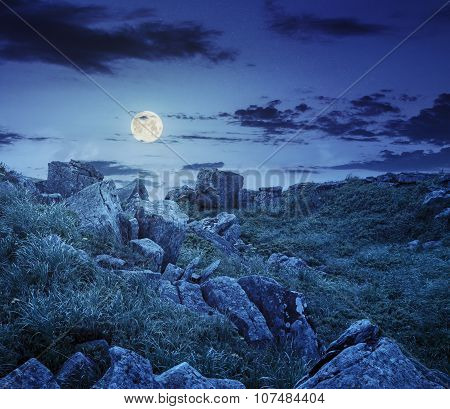 Boulders On The Mountain Meadow With Dandelions At Night