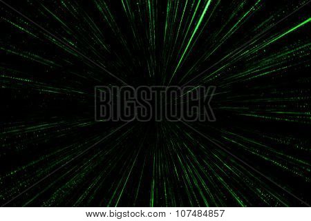 Digital Green Star Burst Matrix Generated In Black Background, Technology Concept