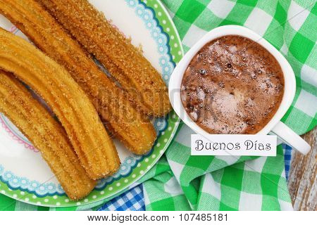 Buenos dias (Good morning in Spanish) card with Spanish churros