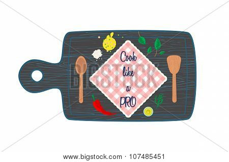 Cooking in kitchen top view banner text space. Cutting board.