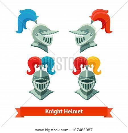 Medieval knights helmet with plume. Font and side