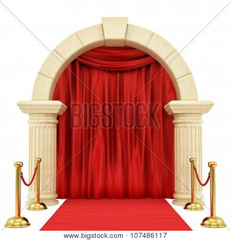 red carpet with golden stanchions