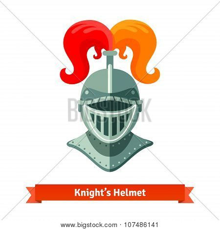 Front view of medieval knights helmet with plume