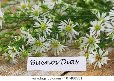 Buenos dias (which means Good morning in Spanish) card with chamomile flowers on rustic wooden surfa