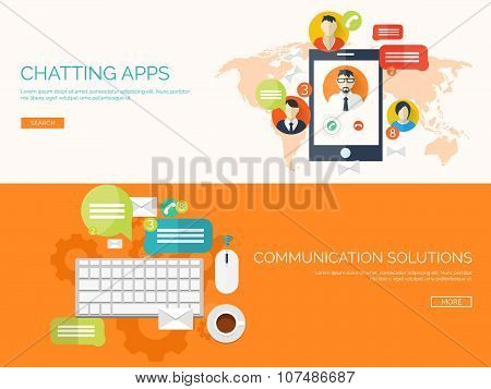 Vector illustration.  Global communication. Social network ,chatting. Emailing and sms. Web calls. I