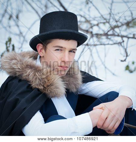 Handsome  Elegantyoung Man With Rapier, Outdoor