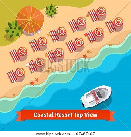 Coastal resort beach, sea and boat, top view