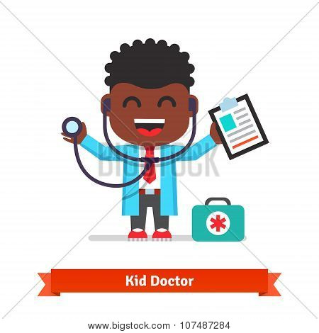 Little boy playing doctor with a stethoscope