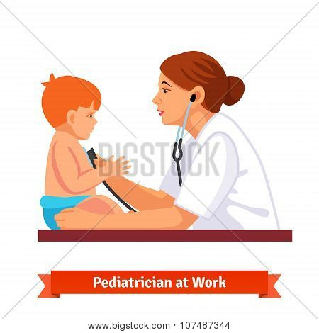 Woman doctor paediatrician examines a child