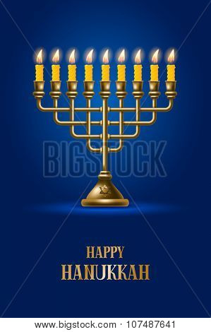 Elegant greeting card for Happy Hanukkah, jewish holiday. Hanukkah golden menorah with burning candles on blue background. Vector illustration.