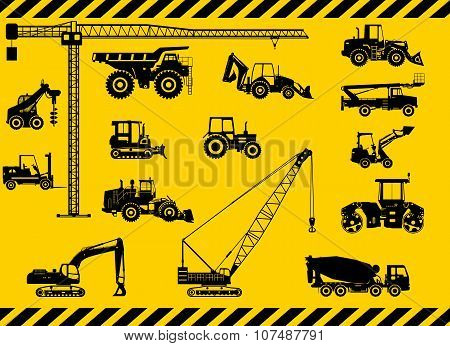 Set of heavy construction machines icons. Vector illustration.