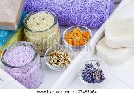 Various Kinds Of Bath Salt With Flowers