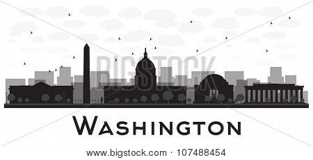 Washington dc city skyline black and white silhouette.Simple flat concept for tourism presentation, banner, placard or web site. Business travel concept. Cityscape with famous landmarks