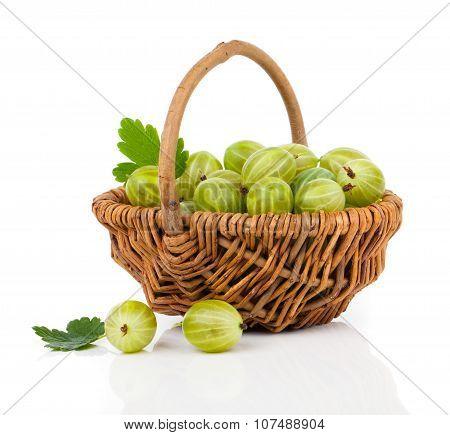 Fresh Gooseberry In A Wicker Basket