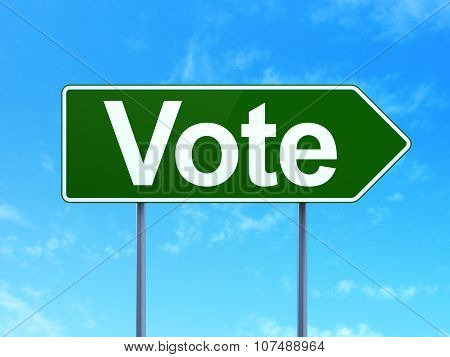 Politics concept: Vote on road sign background