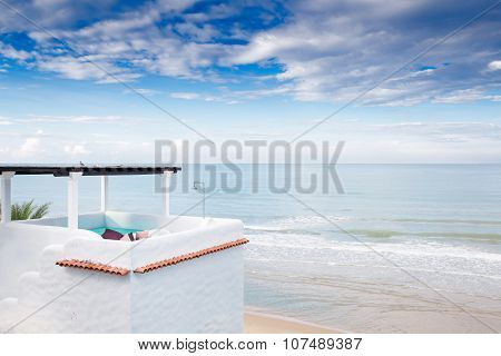Upper Floor Terrace Over Sea View With Blue Sky